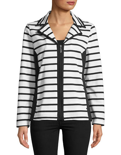 Karen Scott Petite Cotton-Blend Striped Jacket-BLACK/WHITE-Petite Large