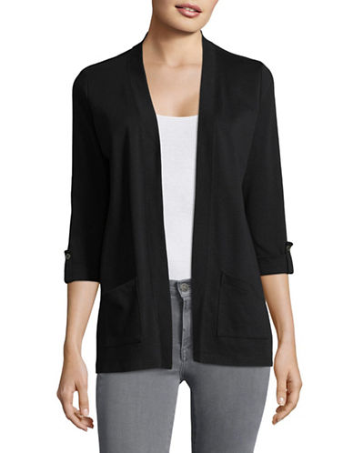 Karen Scott Petite Roll-Sleeve Open-Front Cardigan-BLACK-Petite X-Small