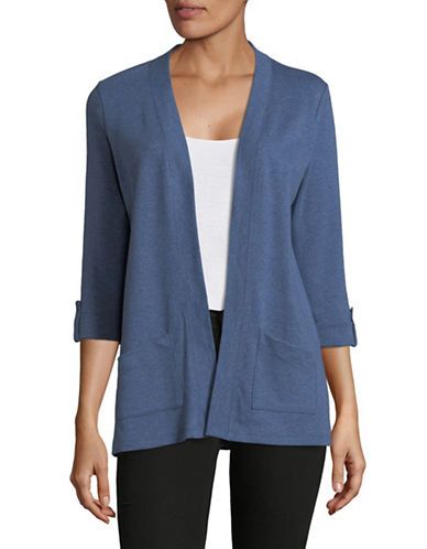 Karen Scott Petite Roll-Sleeve Open-Front Cardigan-BLUE-Petite Medium