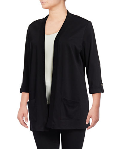 Karen Scott Plus Roll-Sleeve Open-Front Cardigan-BLACK-2X