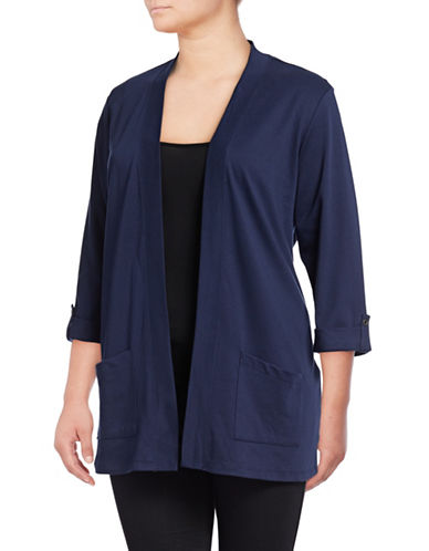 Karen Scott Plus Roll-Sleeve Open-Front Cardigan-BLUE-2X