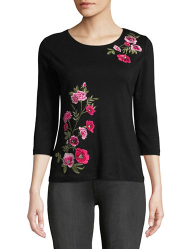 Karen Scott Petite Embroidered Rose Cotton Top-BLACK-Petite X-Small
