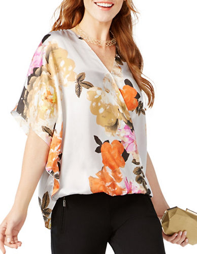 I.N.C International Concepts Petite Petite Printed Surplice Top-ROSE MULTI-Petite Small