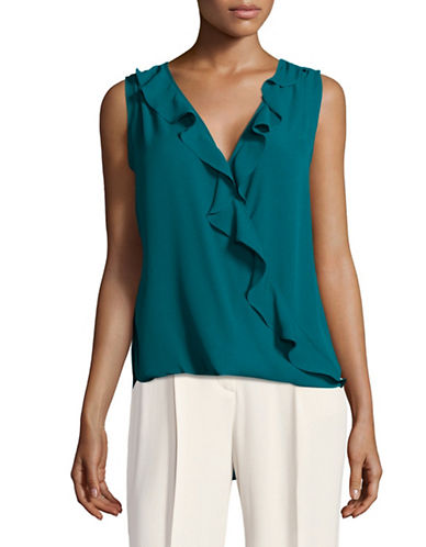 I.N.C International Concepts Ruffled Shell Top-GREEN-Small
