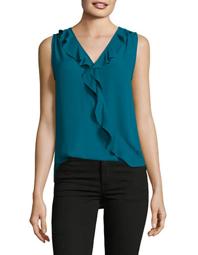 I.N.C International Concepts Petite Ruffled Surplice Top-GREEN-Petite X-Small