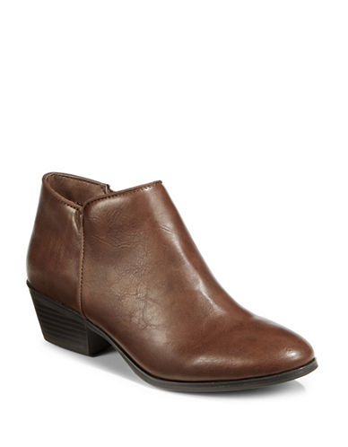 Style And Co. Zip Ankle Booties-COGNAC-8.5