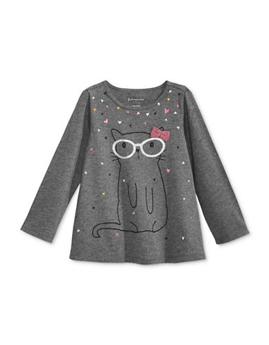 First Impressions Cat Graphic T-Shirt-GREY-6-9 Months