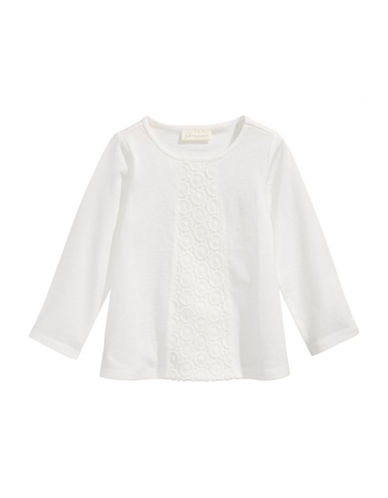 First Impressions Crochet-Trim Cotton Sweater-WHITE-24 Months
