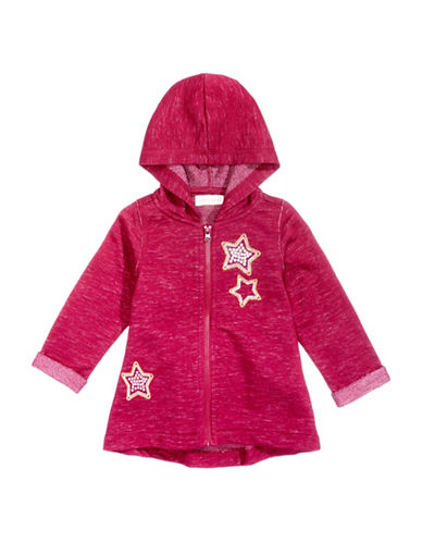 First Impressions Babys Marled Stars Zip-Up Hoodie-RED-24 Months