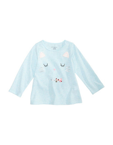 First Impressions Cat T-Shirt with Faux Fur-BLUE-3-6 Months