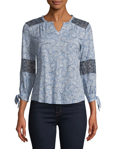 Style And Co. Petite Paisley Split Neck Top-BLUE-Petite Small