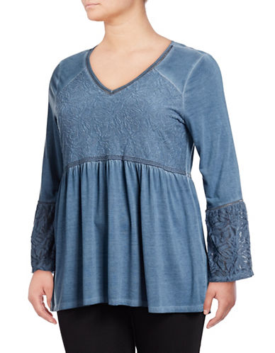 Style And Co. Plus Plus Jacquard Peasant Top-BLUE-2X