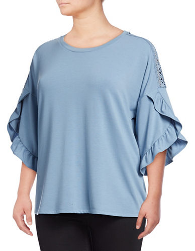 Style And Co. Plus Plus Ruffle Three Quarter Sleeve Top-BLUE-1X