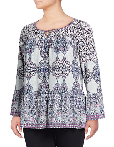 Style And Co. Plus Plus Printed Bell-Sleeve Top-WHITE-2X