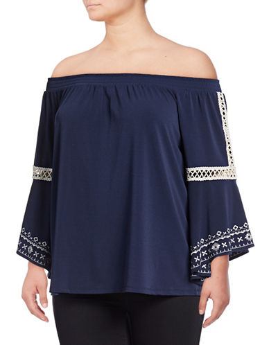 Style And Co. Plus Plus Off-The-Shoulder Embroidered Top-NAVY-3X