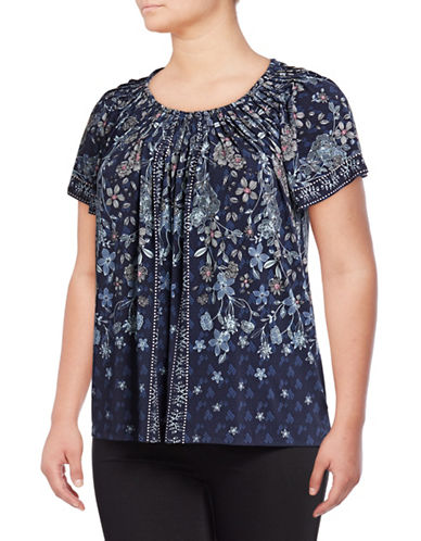 Style And Co. Plus Pleated Mix Print Top-BLUE-3X