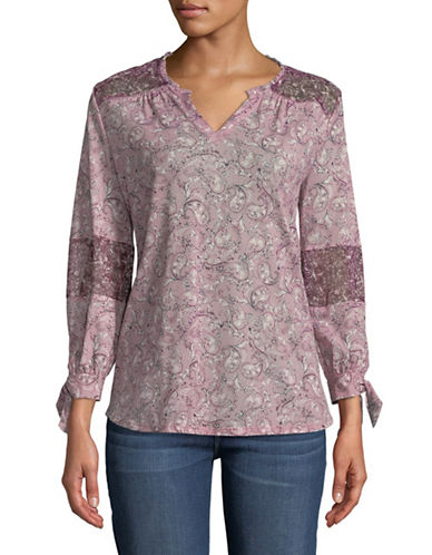 Style And Co. Paisley Print Top-PURPLE-X-Large