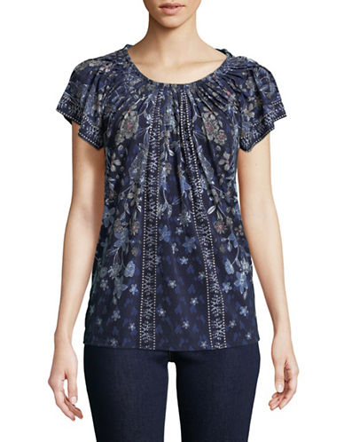 Style And Co. Pleated Mix Print Top-BLUE-X-Large