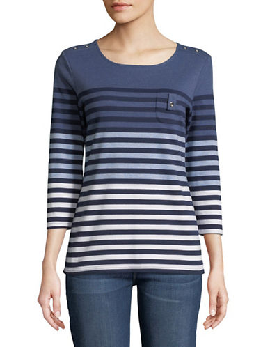 Karen Scott Stripe Three-Quarter Sleeve Pullover-BLUE-Small