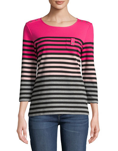 Karen Scott Stripe Three-Quarter Sleeve Pullover-PINK-Medium