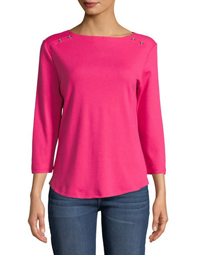 Karen Scott Three-Quarter Sleeve Boat Neck Top-PINK-Large