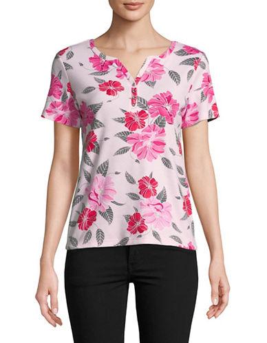 Karen Scott Petite Floral Short-Sleeve Henley-PINK-Petite Medium