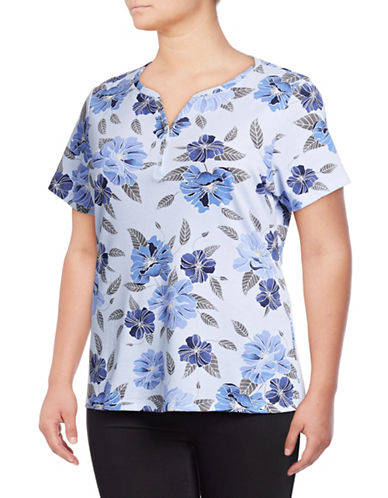 Karen Scott Plus Floral Short-Sleeve Henley-BLUE-1X