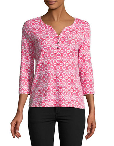 Karen Scott Petite Heart Tile Three-Quarter Sleeve Henley-PINK-Petite X-Small