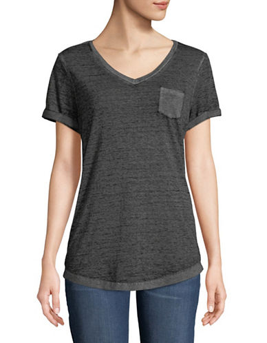 Style And Co. Burnout V-Neck Pocket T-Shirt-BLACK-Small