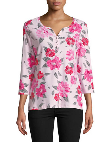 Karen Scott Printed Three Quarter Sleeve Henley-PINK-XX-Large