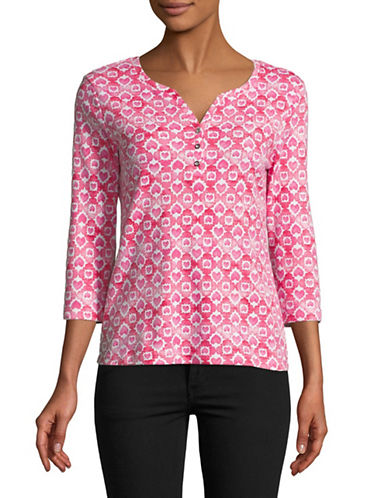 Karen Scott Heart Print Three Quarter Sleeve Henley-PINK-Small