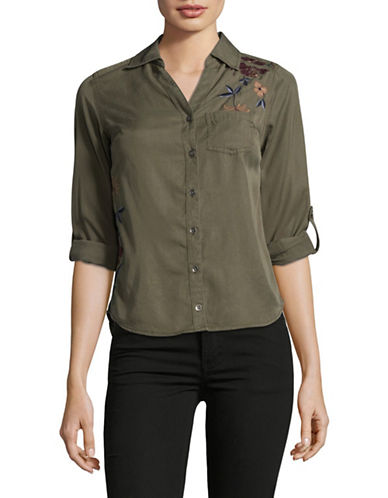 Style And Co. Petite Floral-Embroidered Shirt-GREEN-Petite Medium