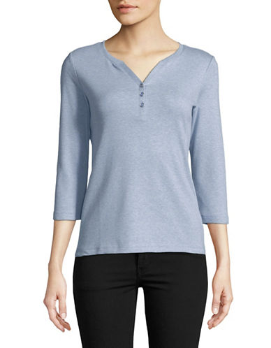 Karen Scott Petite Buttoned Cotton Henley-BLUE-Petite Large