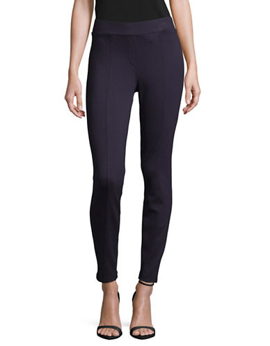 Style And Co. Comfort Waist Seam-Front Ponte Leggings-PURPLE-Large