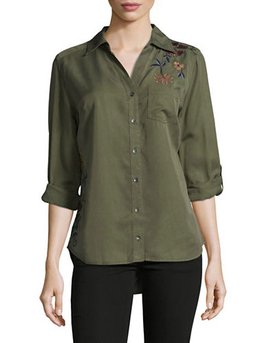 Style And Co. Floral Embroidered Button Top-GREEN-Large