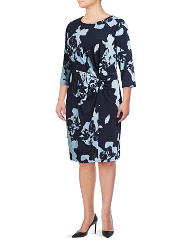 I.N.C International Concepts Plus Printed Twist Front Dress-BLUE-3X