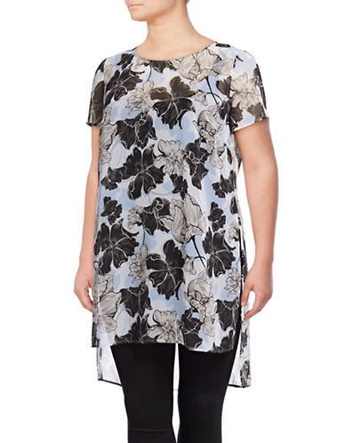 I.N.C International Concepts Plus Plus Floral Short-Sleeve Tunic-BLUE-3X