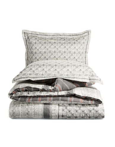 Martha Stewart Three-Piece Reversible Comforter Set-GREY-Twin