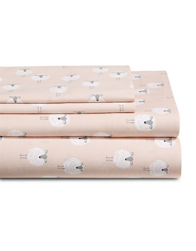 Martha Stewart Whim 200 PR Cotton Four-Piece Sheet Set-PINK-Queen