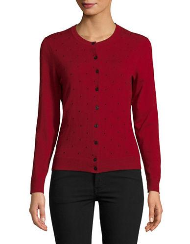 Karen Scott Dot-Print Cardigan-RED-Large