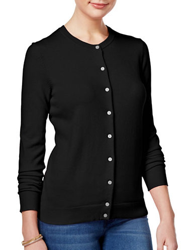 Karen Scott Buttoned Sweater-BLACK-Medium