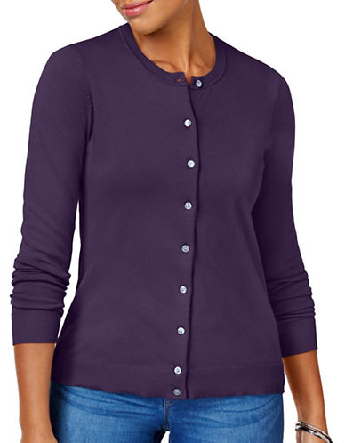 Karen Scott Crew Neck Cardigan-PURPLE-Medium