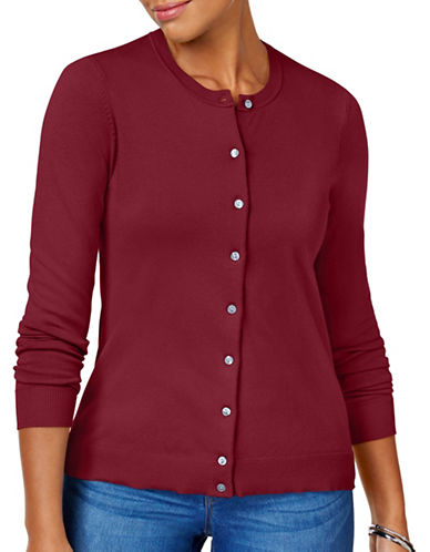 Karen Scott Crew Neck Cardigan-RED-Large
