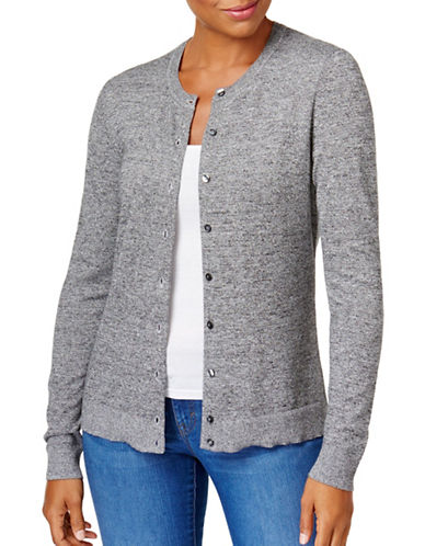Karen Scott Marl Jersey Cardigan-WINTER-Large