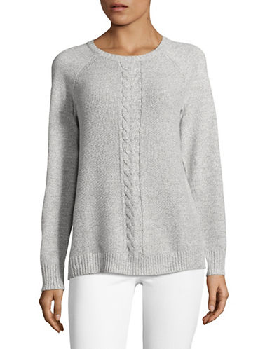Karen Scott Cable Knit Sweater-GREY-X-Large