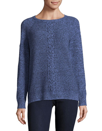 Karen Scott Cable Knit Sweater-BLUE-Medium