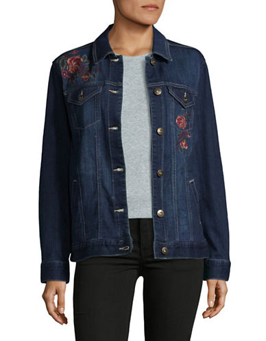 Style And Co. Aurora Floral Denim Jacket-BLUE-X-Large 89500083_BLUE_X-Large