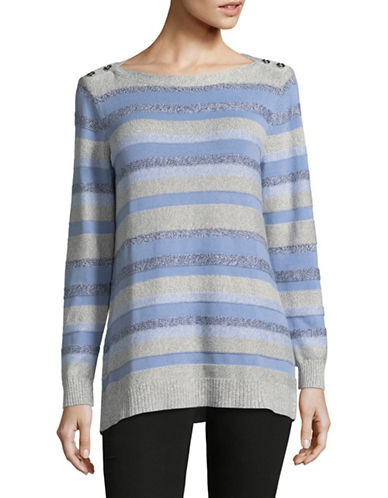 Karen Scott Milno Striped Cotton Sweater-BLUE-Large