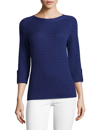 Karen Scott Marled Cable Sweater-BLUE-Large