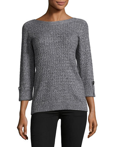Karen Scott Marled Cable Sweater-WHITE-Large